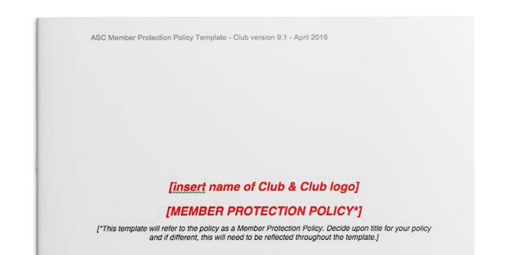 Member Protection Policy template