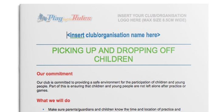 Picking up and dropping off of children policy template