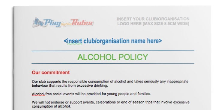 Alcohol Policy template