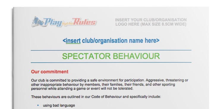 Spectator Behaviour Policy template