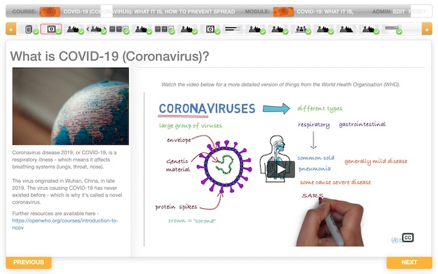 Screen shot of COVID-19 Awareness course